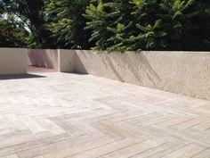Process: rooftop herringbone tile pattern with Jacarandas. Herringbone Tile Pattern, Tile Patterns, Rooftop, Condo, Sidewalk, Modern, Style, Jacaranda Trees, Oaxaca