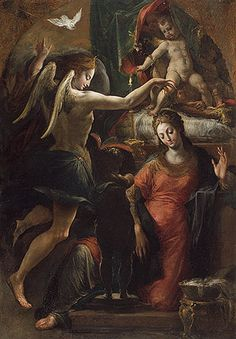 The Annunciation Attributed to Parmigianino (Girolamo Francesco Maria Mazzola) (Italian, Parma, 1503–1540) Oil on wood