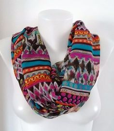 Aztec Tribal  Infinity scarf  Loop scarf Eternity by TrendyTextile, $20.00