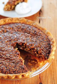 Similar to Pecan Pie, Oatmeal Pie is simple pie, but oh so wonderful for any dessert menu. Fall Desserts, Just Desserts, Delicious Desserts, Dessert Recipes, Yummy Food, Breakfast Recipes, Yummy Treats, Sweet Treats, Oatmeal Pie