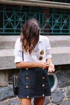 DIY Nautical Button Skirt - a faux panel easy using fabric left over when shortening, add buttons to give the impression of a button up style.