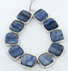 STERLING SILVER RIMMED KYANITE BEADS SQUARE SHAPED 16mm 10pc from New World Gems
