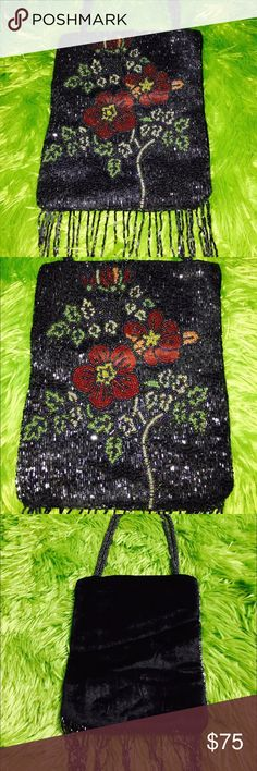 New without tag NWOT Beautiful Beaded Evening Bag Beautiful hand beaded front with velvet back. It's STUNNING and definitely a statement piece for sure!! Would look with a formal dress or fun for just a night out on the town. Avenue Bags Clutches & Wristlets