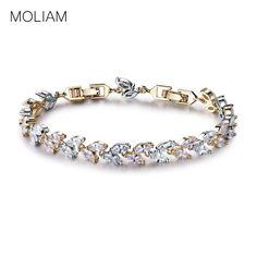 5.39$  Watch here - MOLIAM Luxury Austrian Crystals Wheat Bracelet Elegant Cubic Zirconia Hand Chain Bangle Fashion Jewelry MLL145   #buyonline