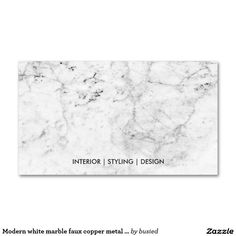 Modern white marble faux copper metal professional Double-Sided standard business cards (Pack of 100)