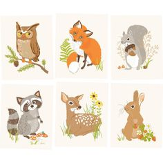 Bring a whimsical touch to your little one's nursery or play room with the help of this 6-piece art print set, featuring an adorable woodland creature motif....