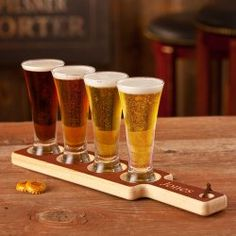 Personalized Wood Carved Beer Tasting Set
