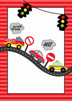 Car Themed Parties, Cars Birthday Parties, Boy Birthday, Birthday Card Sayings, Birthday Cards, Festa Hot Wheels, Transportation Birthday, Car Themes, Borders For Paper