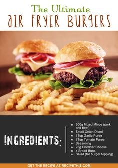 Welcome to my ultimate Air Fryer Burgers. I am a burger addict and couldn't imagine anything better than a tasty burger. I don't remember when it started but I am sure it was at a young age. Burger Toppings, Burger Recipes, Beef Recipes, Healthy Recipes, Healthy Dishes, Delicious Recipes, Recipies, Yummy Food, Phillips Air Fryer