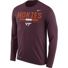 Nike Men's Virginia Tech Hokies Maroon Football Sideline Staff Legend Long  Sleeve Shirt, Size: