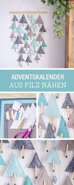 DIY-Weihnachen: Adventskalender aus Filz selbermachen, hängender Adventskalender / hanging advents calendar made of felt via DaWanda.com