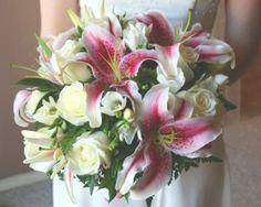 White Stargazer Lily Wedding Bouquet | Bride Holding Her Bouquet of Rose's & Star Gazer Lily . Wedding ...