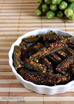 Bharwa Bhindi | Gujurati Bhinda Sambhariya | Okra Recipes Okra stuffed with coconut, peanuts and spices to make this Gujurati dish.