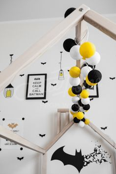 Black and yellow child room Toddler bed twin size, baby bed, children bed, montessori wooden house, nursery interior crib, toddler bedroom design, girl room, with fence