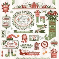 Free vector illustration of Retro style Christmas design elements like banner, vintage stamp, floral frame, Christmas holly jolly bell, smal...