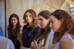 ♔♛Queen Rania of Jordan♔♛...Queen Rania visits ADW exhibition at the Raghadan Terminal.. August 10, 2016