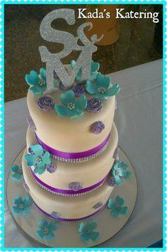 Fondant purple, white and turquoise wedding cake