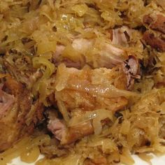 """Savory pork roast in sauerkraut -crockpot. On the topic of crock pot meals. here is another recipe from the current """"Fix-It and Forget-It"""" Magazine that is available until It called to me because it sounded very German! Pork and S. Crockpot Pork And Sauerkraut, Sauerkraut Recipes, Pork Chops With Sauerkraut, New Years Pork And Sauerkraut, Cooking Sauerkraut, Pork Recipes, Cooker Recipes, Crockpot Recipes, Game Recipes"""