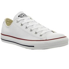 Converse All Star Low Leather ($83) ❤ liked on Polyvore featuring shoes, sneakers, converse, trainers, optical white, unisex sports, genuine leather shoes, white trainers, white leather sneakers and white leather shoes