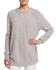 B336N Belstaff Long-Sleeve Braided-Trim Sweater, Pale Gray Melange
