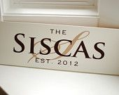 Custom Family Name Painted Wood Sign Personalized for your Family- Perfect Gift Idea - ETS-18