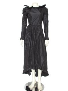Vintage Bill Blass Black Silk Taffeta Ruffled Evening Gown