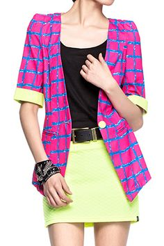 Neon Crosshatch Jacket A bright and vibrant jacket in hot pink  www.delapunc.com