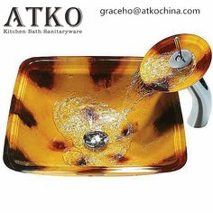 Square Art Bathroom Tempered Glass Vessel Sink with Waterfall Faucet Glass Basin, Glass Vessel Sinks, Glass Suppliers, Waterfall Faucet, Square Art, Kitchen Aid Mixer, Hand Washing, Modern, Contemporary