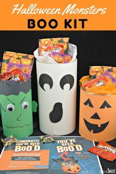 Create your own cute BOO Kit this Halloween and BOO It Forward! Surprise friends and family with these faBOOlous Halloween Monster BOO Kits filled with fun Halloween treats! #BOOItForward AD @mmschocolate @amgreetings