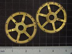 2 Large vintage brass gears antique clock by SteampunkArtSupplies.com  #steampunk  #gears #brass #clockwork