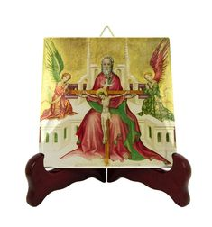 The Holy Trinity with Christ crucified - religious gifts - christian icon on ceramic tile - religious plaque - decor - catholic gifts
