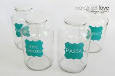 MEDIUM Customised Vinyl Labels for Glass Jars by Match Set Love on hellopretty.co.za