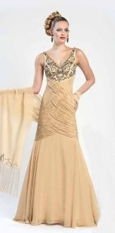 Sue Wong Long V-Neck Gathered Gown W4361