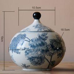 Keramikdose mit Deckel, Deko-Dose, Blumenmuster Höhe: 19 cm, Durchmesser: 18,5 cm