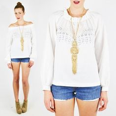 vtg 70s boho hippy EMBROIDERED EYELET smock PEASANT tunic shirt blouse top S/M/L $38.00
