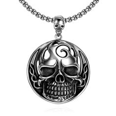 Jenia Brand Rock Pattern Stainless Steel Skeleton Pendant Necklace Round jewelry for Punk Men CMN024 #Affiliate