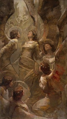 Concourse of Angels by J. Kirk Richards -To see an angel, you must see another's soul. To feel an angel, you must touch another's heart. To hear an angel, you must listen to both. Lds Art, Classical Art, Sacred Art, Renaissance Art, Christian Art, Religious Art, Religious Paintings, Aesthetic Art, Art Blog