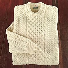 Traditional Irish sweater. I want this in green to throw over a white tshirt.