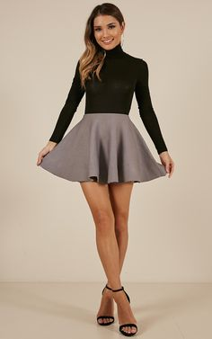 Complete your look with the Real Deal Skirt In Grey from Showpo! Buy now, wear tomorrow with easy returns available. Skater Skirt Outfit, Mini Skirt Dress, Sexy Skirt, Skirt Outfits, Cute Outfits, Skater Skirts, Knit Skirt, Dressy Dresses, Sexy Dresses