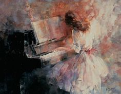 Painting of a girl playing piano.