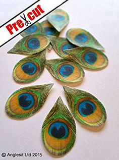 PEACOCK FEATHERS EDIBLE RICE / WAFER PAPER CUP CAKE TOPPERS WEDDING PARTY BIRTHDAY DECORATION