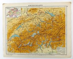 1924 Map of Switzerland OR Map of Spain and Portugal, old maps on Etsy, £6.00