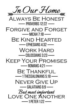 In Our Home Rules with Verses Wall Decals Home Quotes And Sayings, Mom Quotes, Faith Quotes, Words Quotes, Bible Quotes, Quotes To Live By, Bible Verses, Family Wall Quotes, Music Quotes