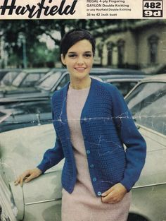 7777c6ae3d481 Vintage HAYFIELD PDF Copy Knitting Pattern for Ladies Cardigan in 2  Qualities Pattern No  482 34-42 inch Chest
