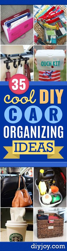 Car Organization Ideas - DIY Tips and Tricks for Organizing Cars - Dollar Store Storage Projects for Mom, Kids and Teens - Keep Your Car, Truck or SUV Clean On A Road Trip With These solutions for interiors and Trunk, Front Seat - Do It Yourself Caddy and Diy Home Decor Projects, Diy Projects For Teens, Diy For Kids, Office Organization At Work, Craft Organization, Organizing Ideas, Car For Teens, Seat Storage, Diy Car