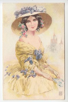 Beautiful Lady, Wide Brimmed Hat with Flowers, Gorgeous Gown - Artist PC (873)