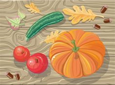 Fetuses Squash, Apples, Acorns by robuart on Creative Market