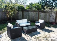 4 PC Sectional Rattan Wicker Sofa Set Patio Garden Cushioned Outdoor Furniture Explore our internet Sectional Patio Furniture, Outdoor Wicker Furniture, Patio Furniture Sets, Outdoor Decor, Furniture Layout, Garden Furniture, Steel Furniture, Furniture Ideas, Garden Cushions