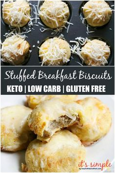 Keto Stuffed Breakfast Biscuits are a hearty and savory way to kickstart your day. A keto friendly breakfast that is loaded with flavor. Freeze your stuffed biscuits for a quick breakfast to reheat for mornings you need to head out fast. Keto Biscuits, Breakfast Biscuits, Cheese Biscuits, Quick Recipes, Low Carb Recipes, Cooking Recipes, Gluten Free Recipes, Protein Recipes, Health Recipes
