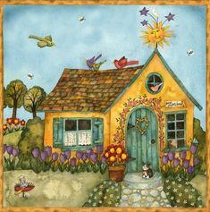Storybook Cottage ~ Debi Hron by Cute Cottage, Cottage Art, Yellow Cottage, Illustrations, Illustration Art, Storybook Cottage, House Quilts, Cute House, Arte Popular
